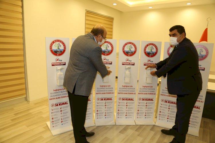 Nizip Belediyesi'nden cami ve Kur'an kurslarına dezenfektan desteği